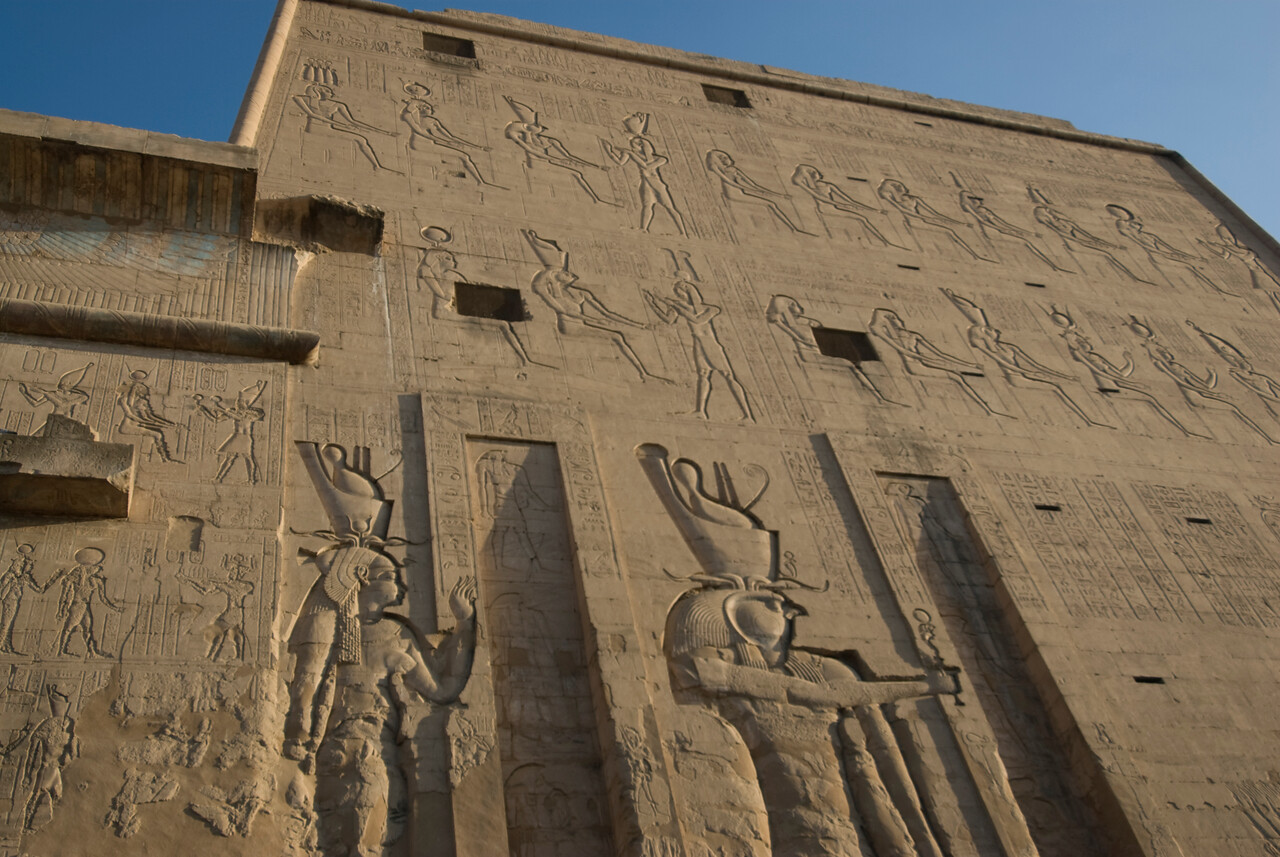 Closer look at Heiroglyph Wall at Edfu Temple - Edfu, Temple