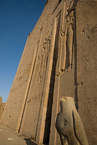 Falcon Statue at heiroglyphic wall at Edfu Temple - Edfu, Temple