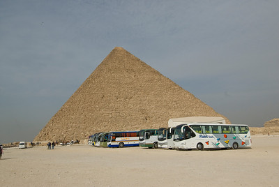 Tourist buses parked near the Pyramid - Giza, Egypt