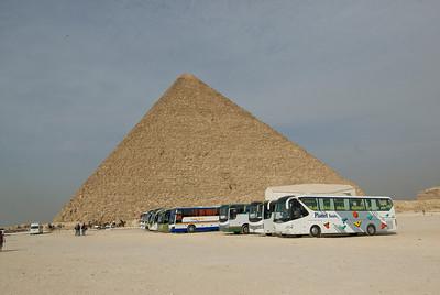 Tourist buses parked near the Pyramid - Giza, Egypt