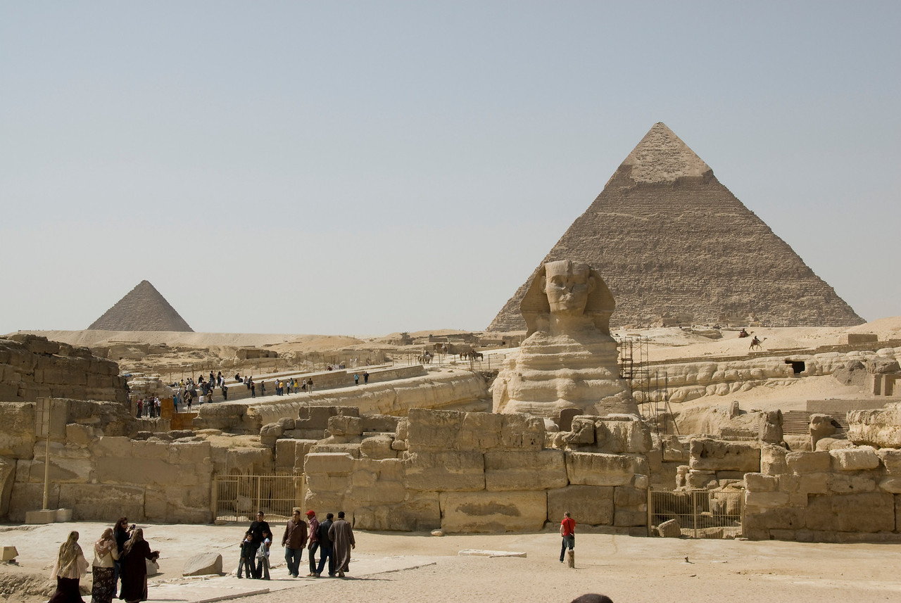 Tourists checking out the Sphinx and Pyramid - Giza, Egypt