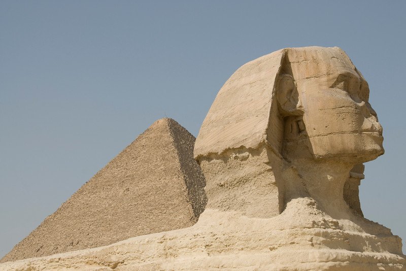 Close-up shot of the Sphinx head - Giza, Egypt