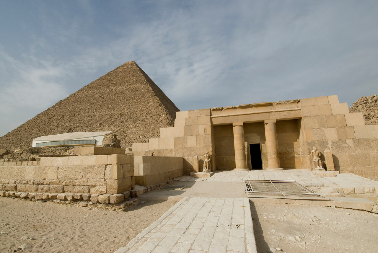 Wide shot of the Temple and Pyramid - Giza, Egypt