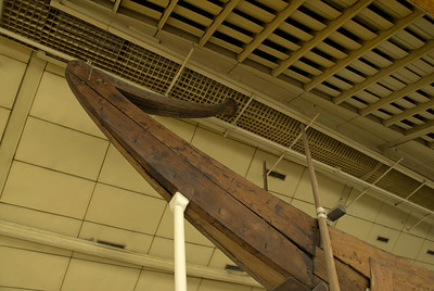 Closer shot of the pyramid boat bow - Giza, Egypt
