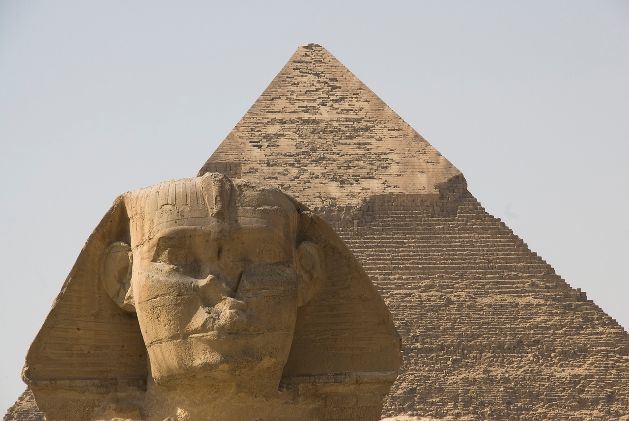 Close-up shot of the Sphinx and Pyramid - Giza, Egypt