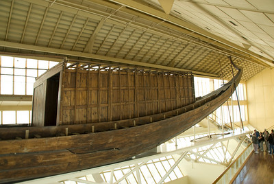 Wooden boat inside the Boat Museum - Giza, Egypt