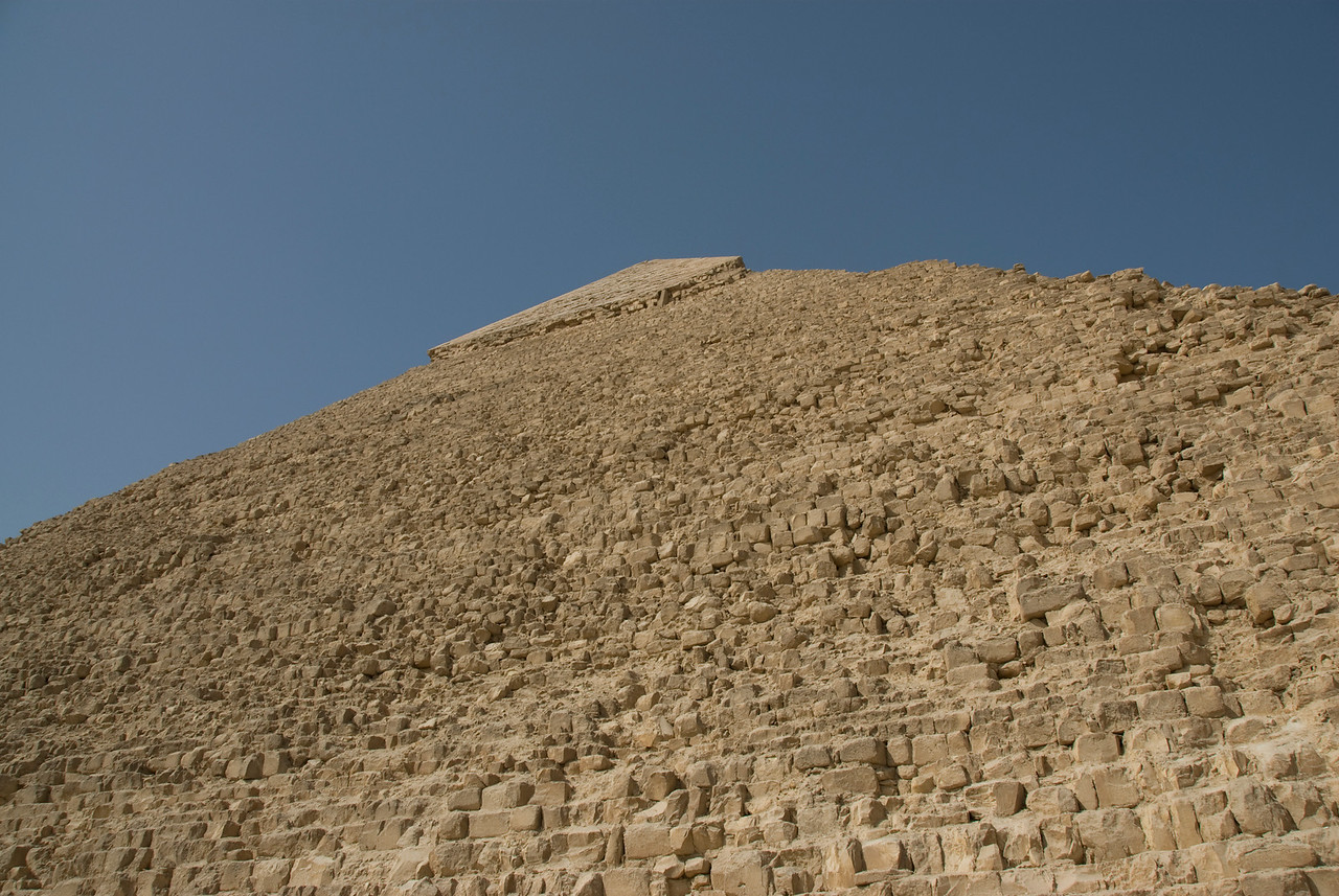 Looking up the peak of the Pyramid - Giza, Egypt