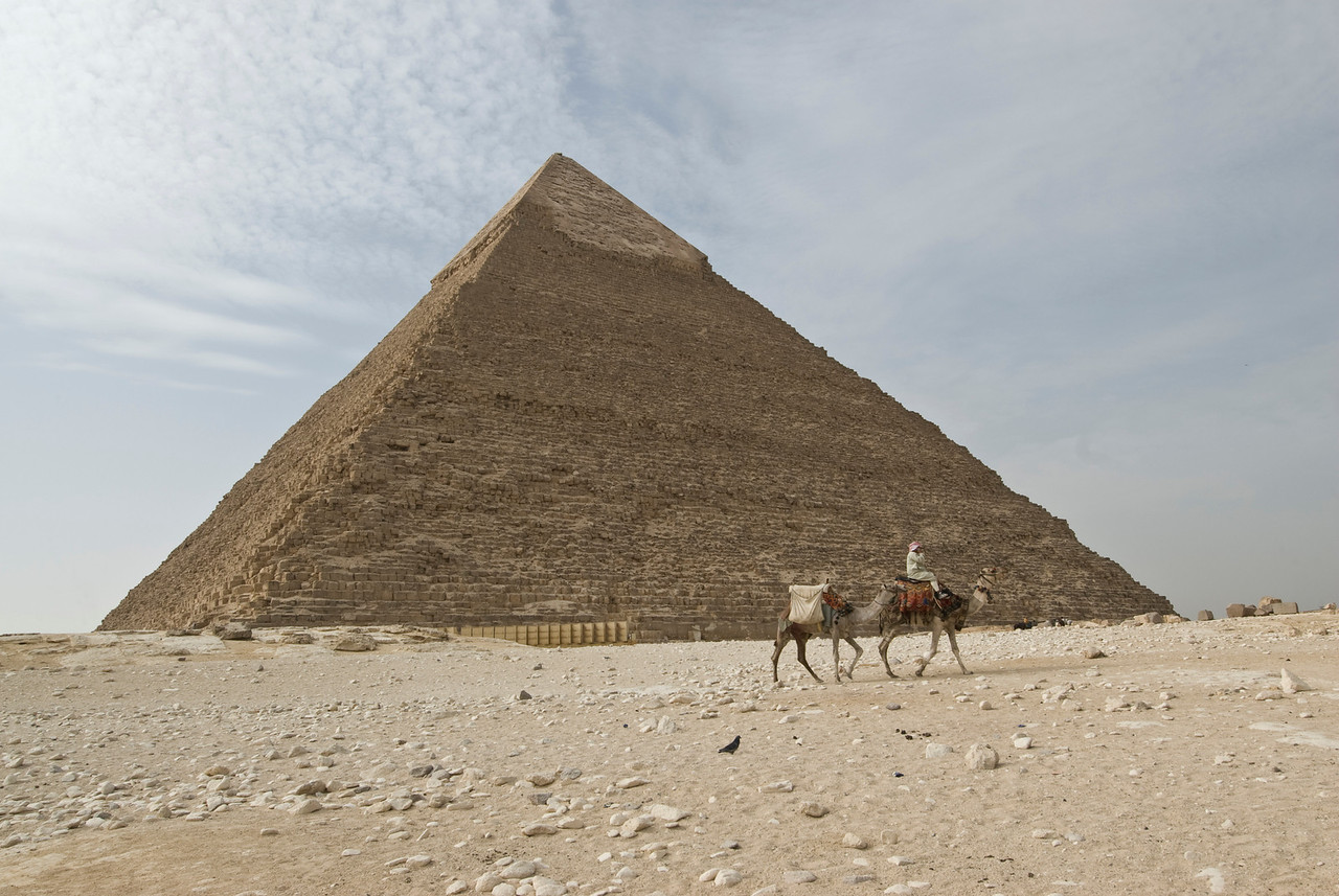 Man riding camel in front of the pyramid - Giza, Egypt