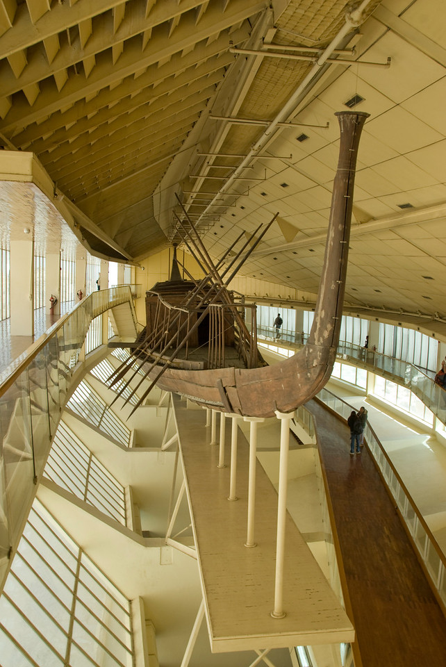 Detailed shot of wooden boat at Boat Museum - Giza, Egypt