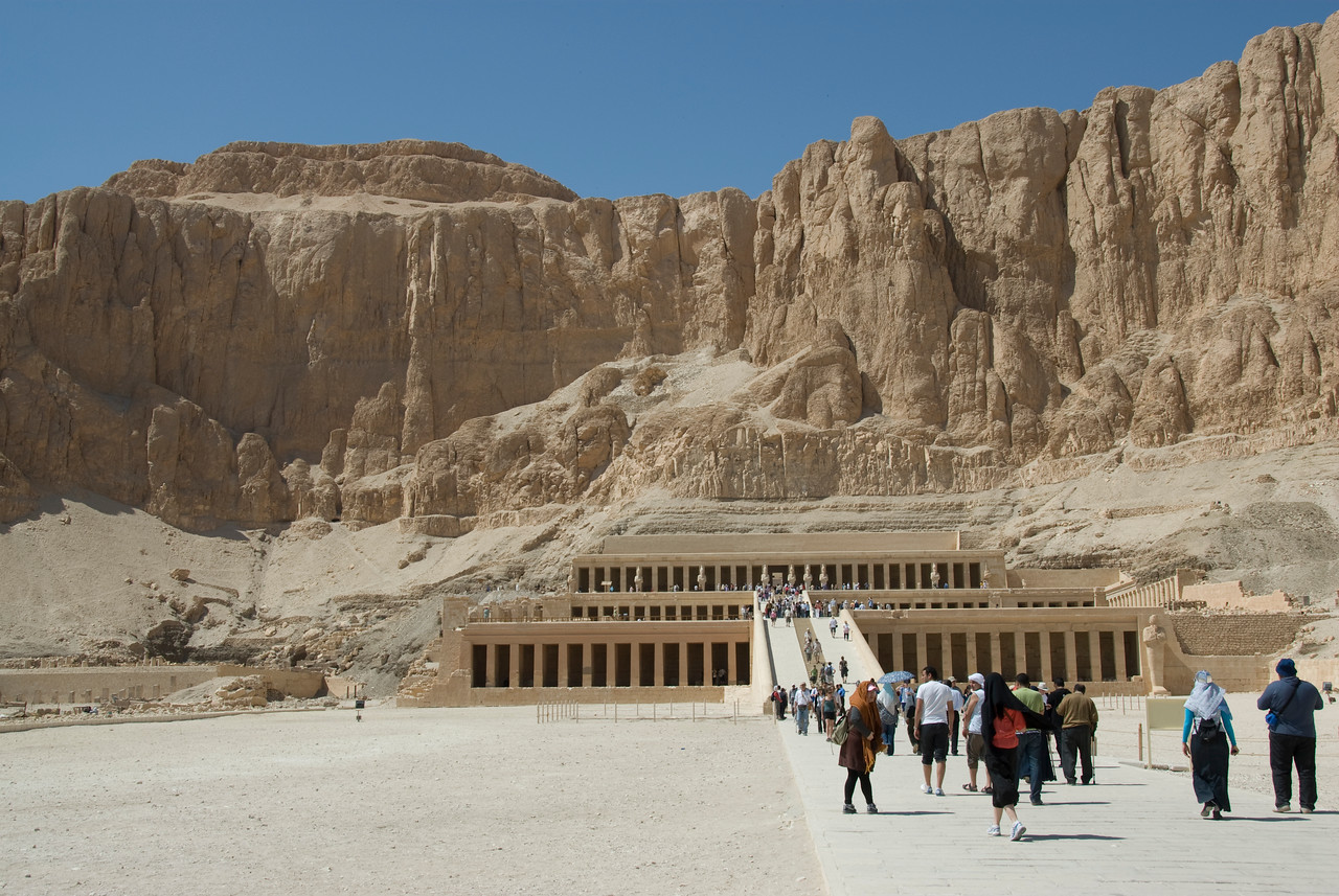 Tourists entering the Hatshepsuts Temple - Luxor, Egypt