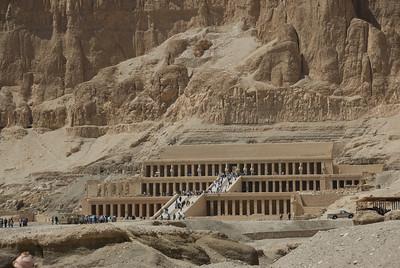 Tourists flocked outside the Hatshepsuts Temple - Luxor, Egypt