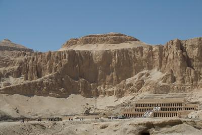 Wide shot of view outside Hatshepsuts Temple - Luxor, Egypt