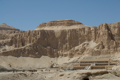 Wide shot of view outside Hatshepsuts Temple - Luxor, Egypt