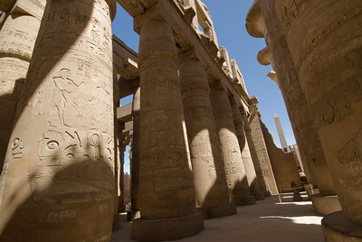 Ancient heiroglyphics on the pillars of Karnak Temple - Luxor, Egypt