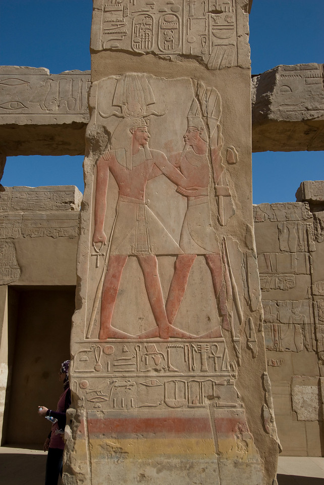 Ancient heiroglyphics on the wall of Karnak Temple - Luxor, Egypt