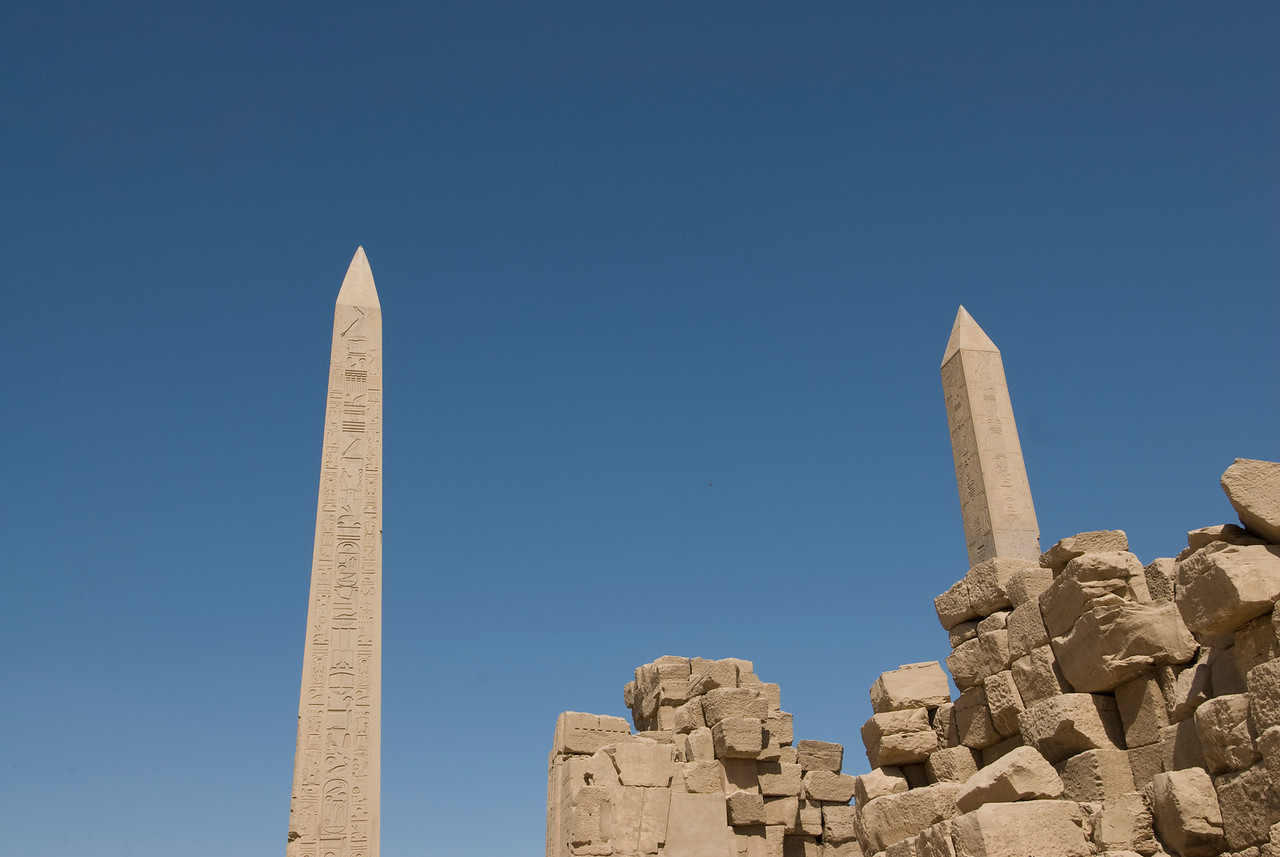 Obelisks towering above Karnak Temple - Luxor, Egypt