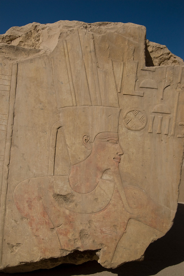 Close-up shot of ancient heiroglyphic at Karnak Temple - Luxor, Egypt