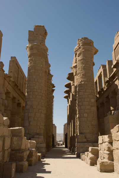 Pillars and narrow hallways at Karnak Temple - Luxor, Egypt