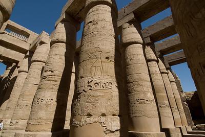 Pillars with ancient heiroglyphics at Karnak Temple