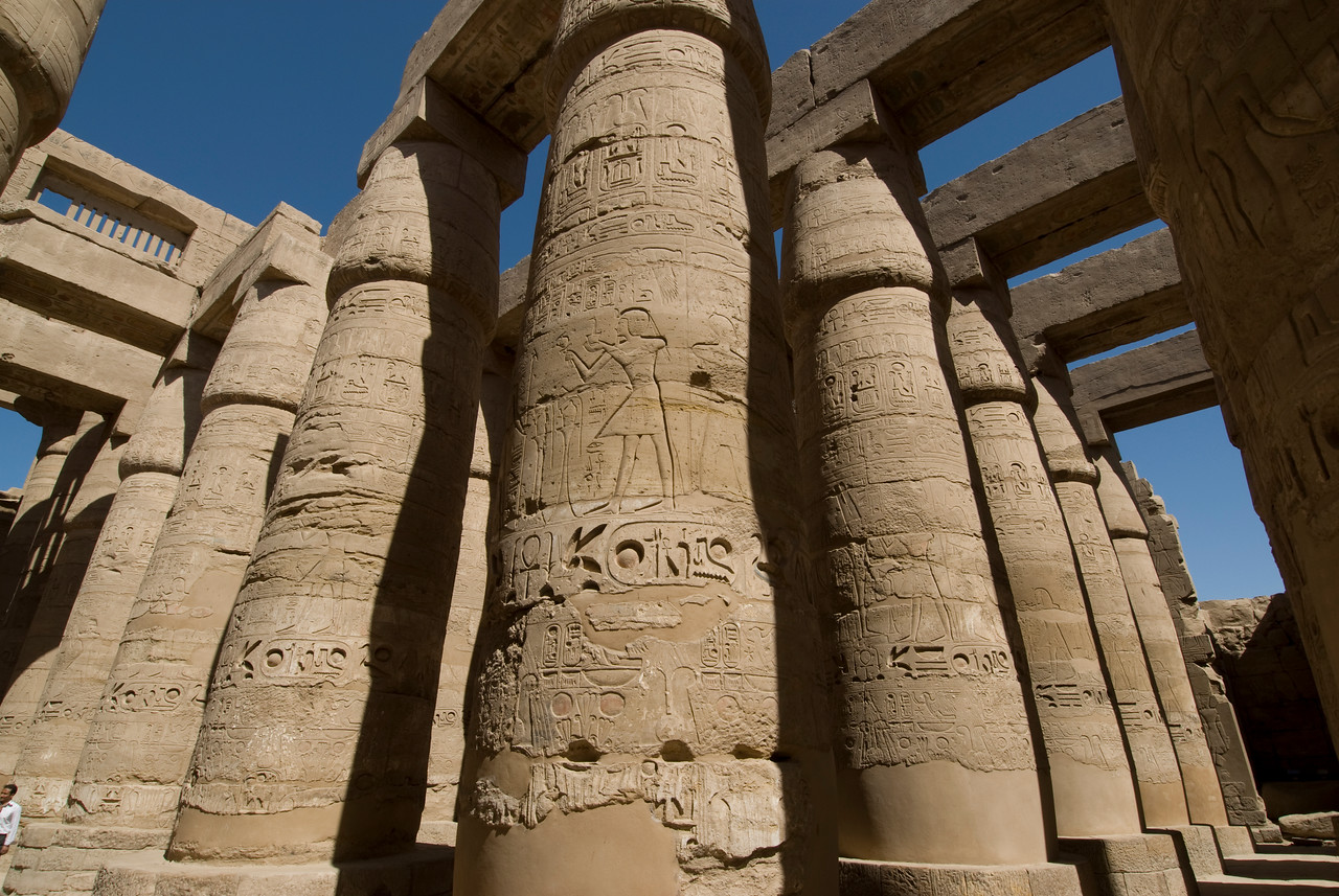 Pillars with ancient heiroglyphics at Karnak Temple