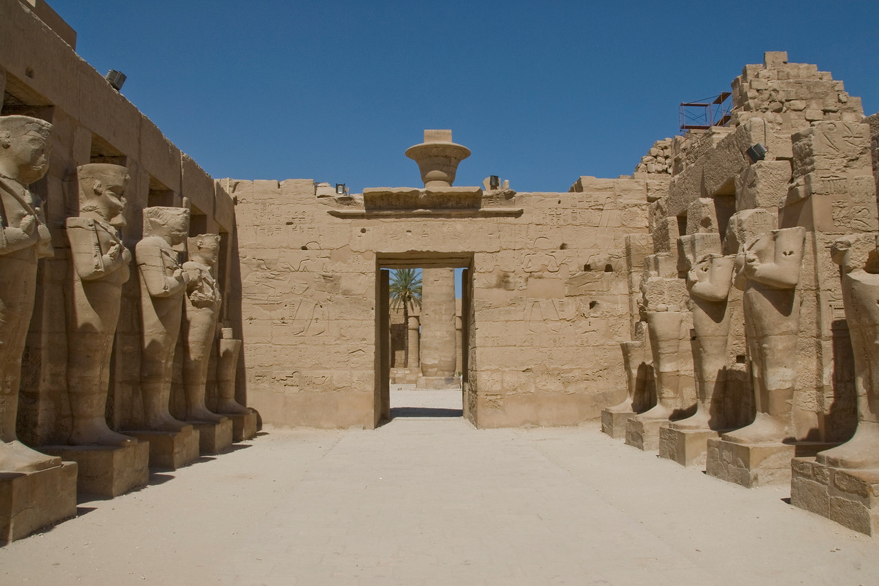 Temple doorway and statues at Karnak Temple - Luxor, Egypt