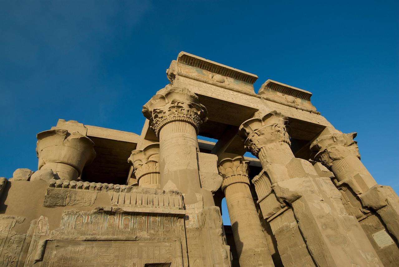 Looking up the temple pillars - Komombo, Egypt