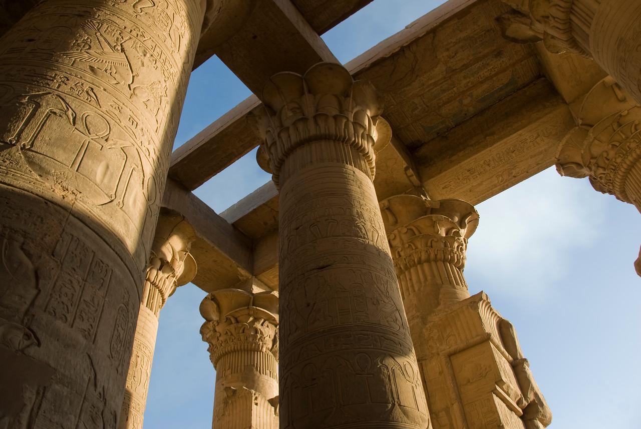 Ancient heiroglyphics on pillars of Temple of Kom Ombo - Komombo, Egypt