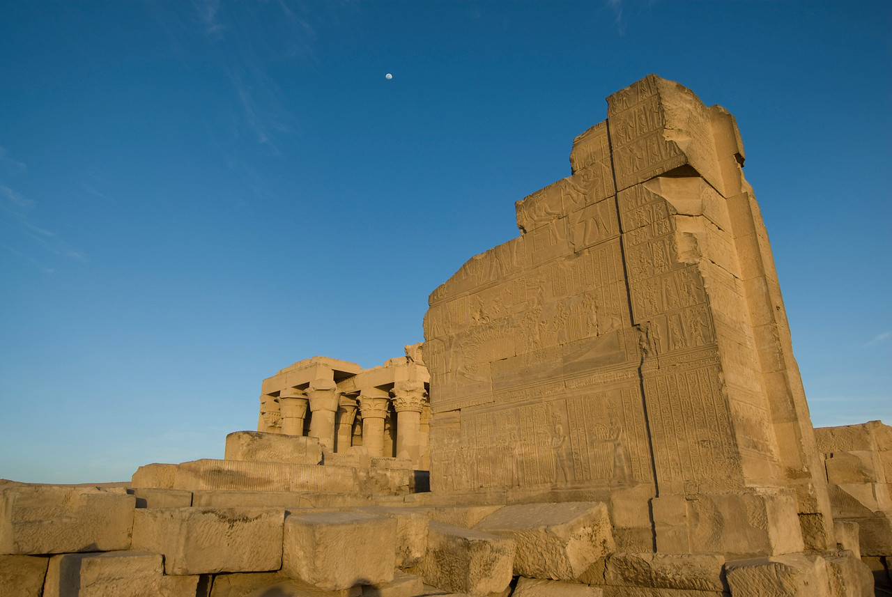 Temple Ruins and Moon - Komombo, Egypt