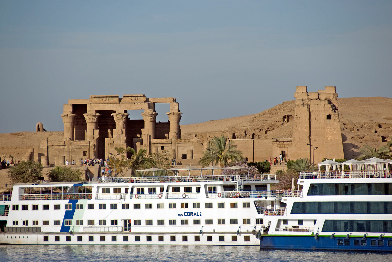 View of the unique double temple of Kom Ombo from the Nile River - Komombo, Egypt