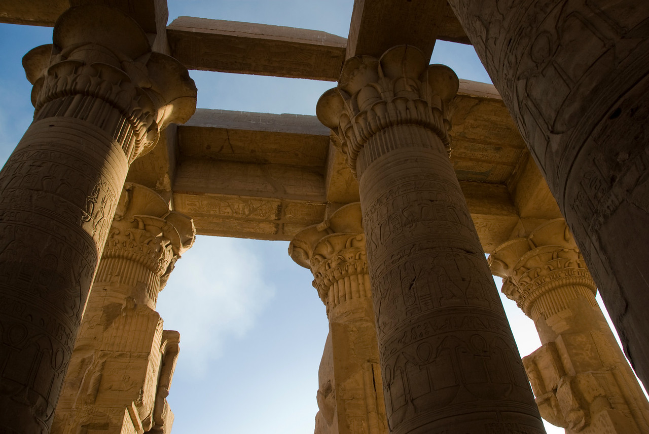 Pillar shadows inside the temple - Komombo, Egypt