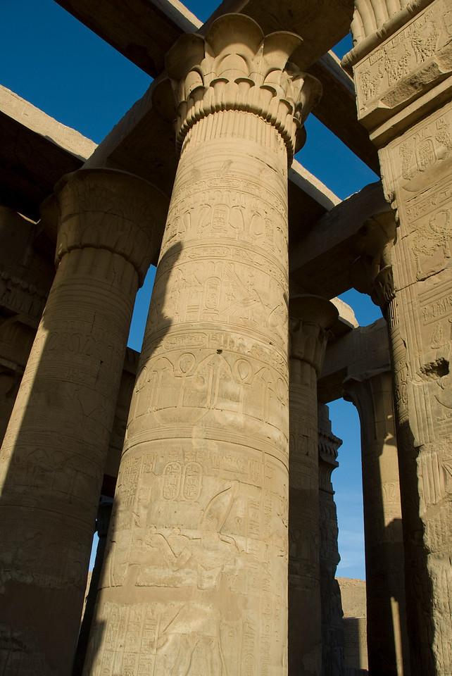 Looking up the pillars of Temple of Kom Ombo - Komombo, Egypt