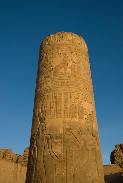 Column filled with heiroglyphics at Kom Ombo Temple - Komombo, Egypt