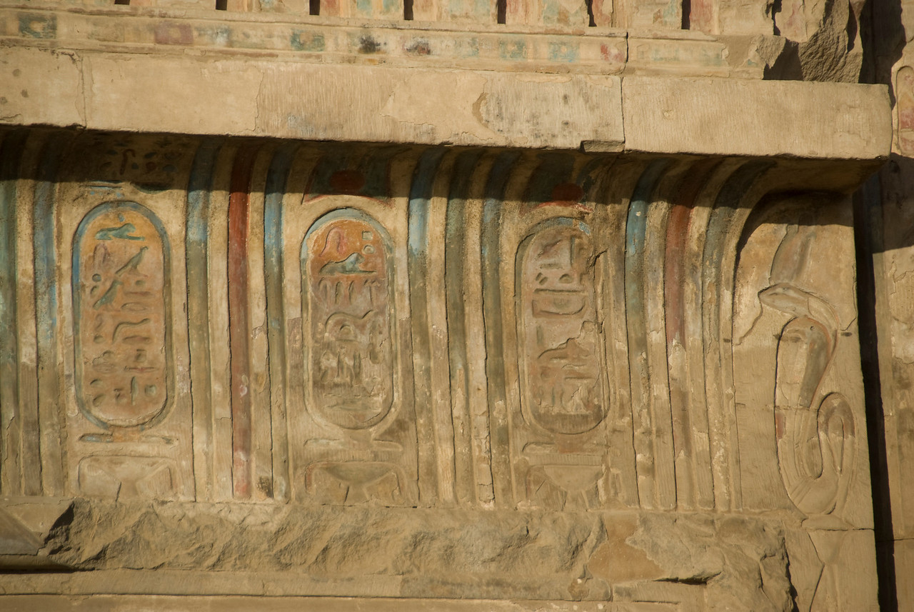 Colored heiroglyphics on the walls of Temple of Kom Ombo - Komombo, Egypt