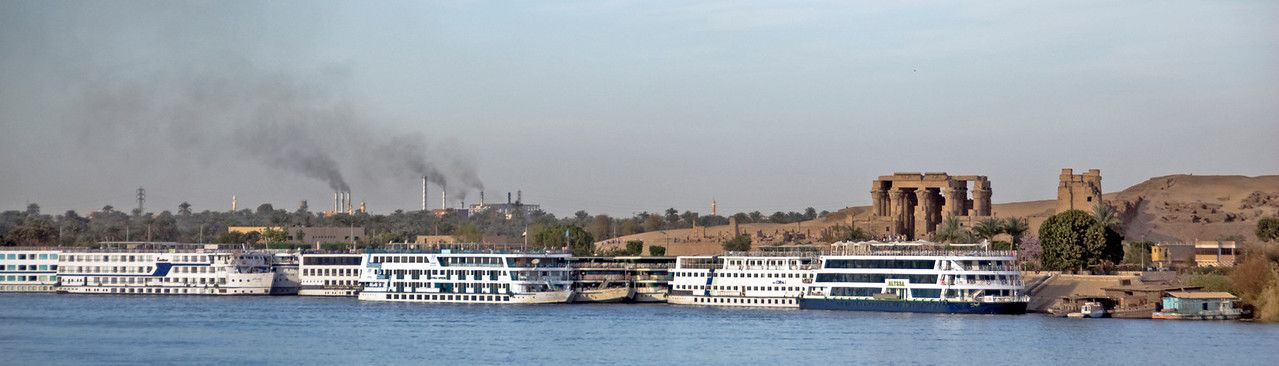 Wide shot of Temple of Kom Ombo across Nile River - Komombo, Egypt