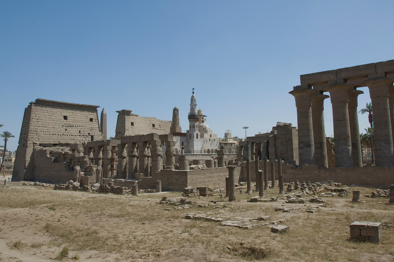 Wide shot of the Luxor Temple Complex - Luxor, Egypt