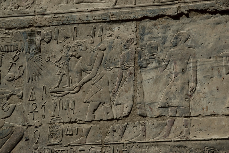 Detailed shot of the ancient heiroglyphics at Luxor Temple - Luxor, Egypt