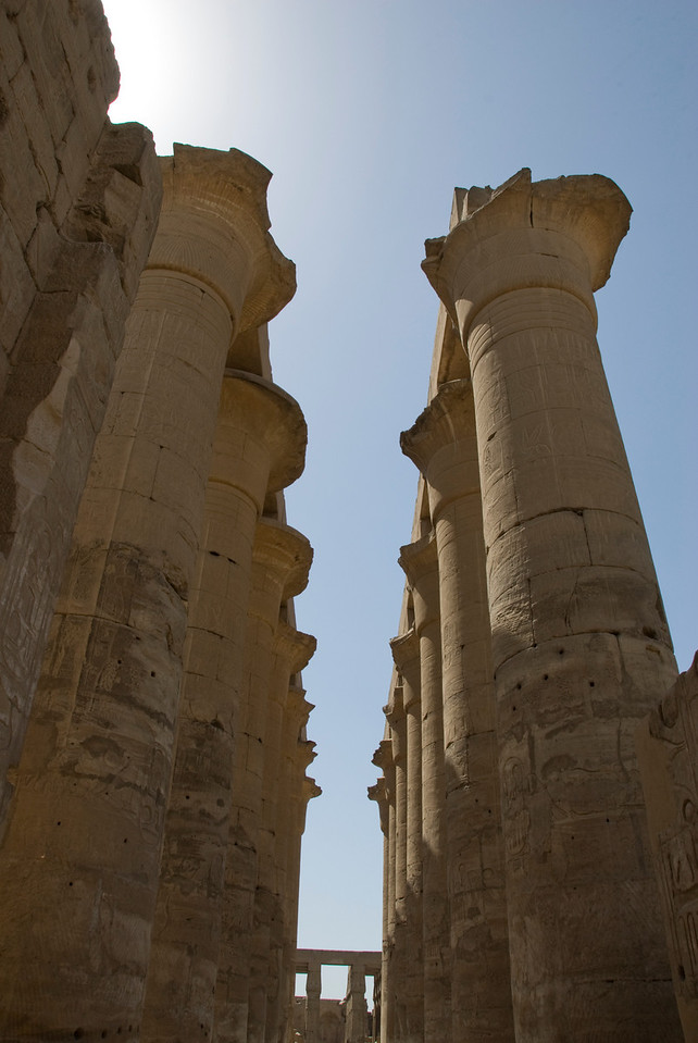 Pillars inside the Luxor Temple - Luxor, Egypt