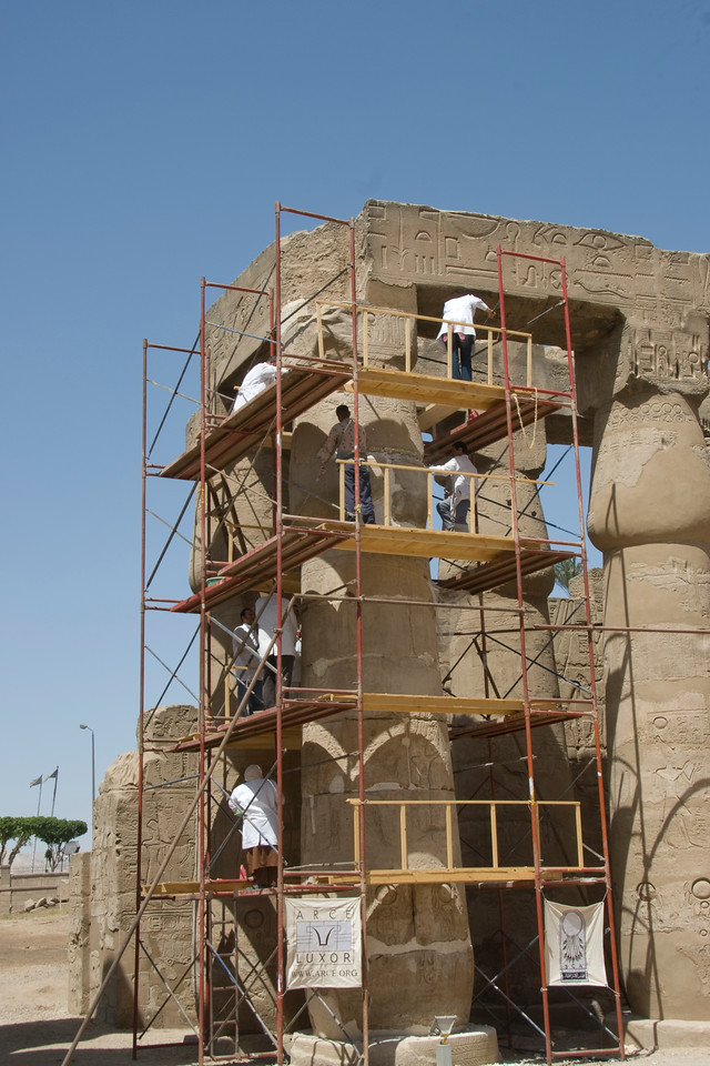 Restoration workers at the Luxor Temple - Luxor, Egypt