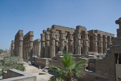 Columns of pillars inside Luxor Temple - Luxor, Egypt