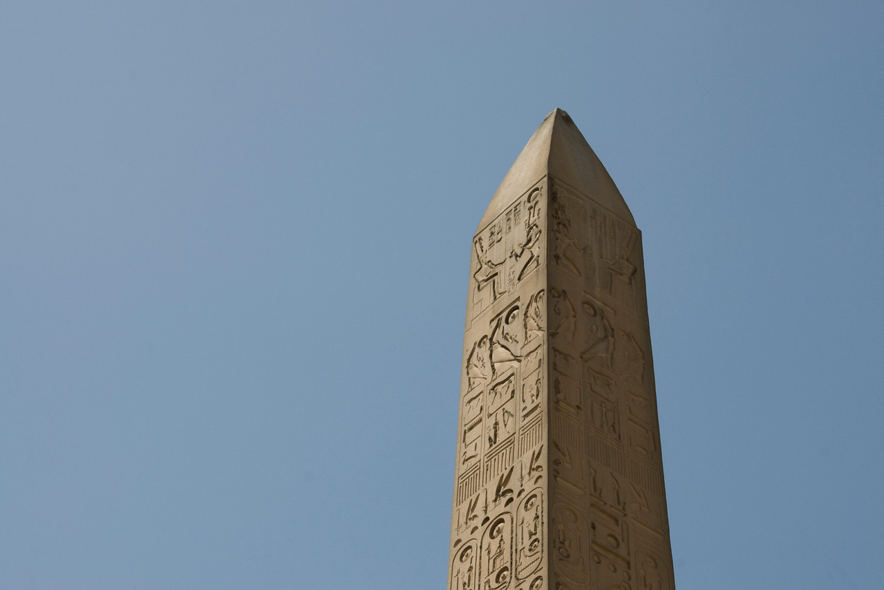 Closeup shot of the top of the Obelisk- Luxor, Egypt