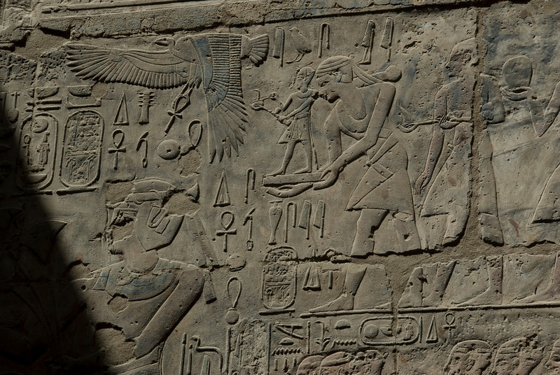 Heiroglyphic carvings at the wall of Luxor Temple - Luxor, Egypt