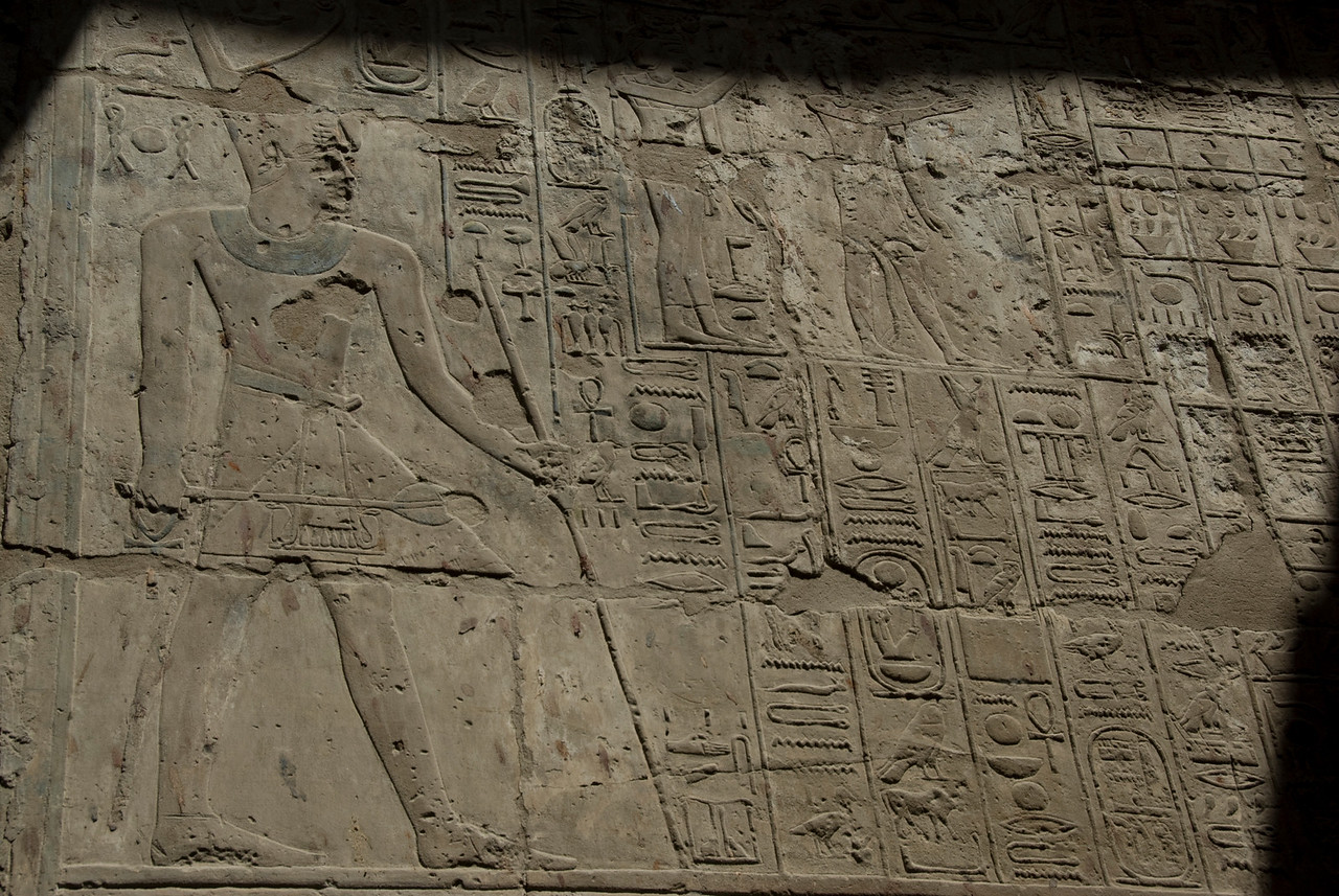 Ancient heiroglyphics at the Luxor Temple - Luxor, Egypt