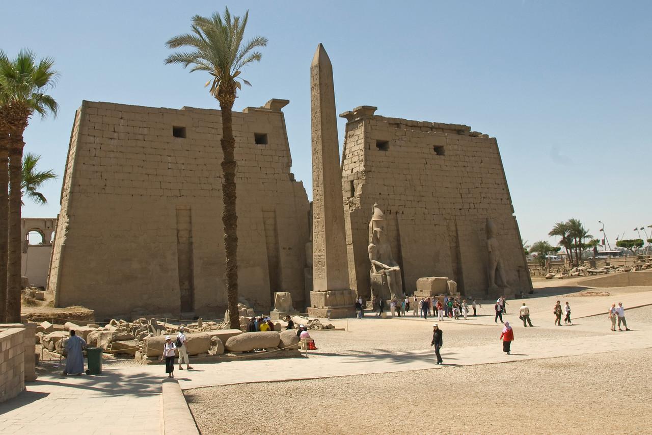 Wide shot outside Luxor Temple Complex - Luxor, Egypt