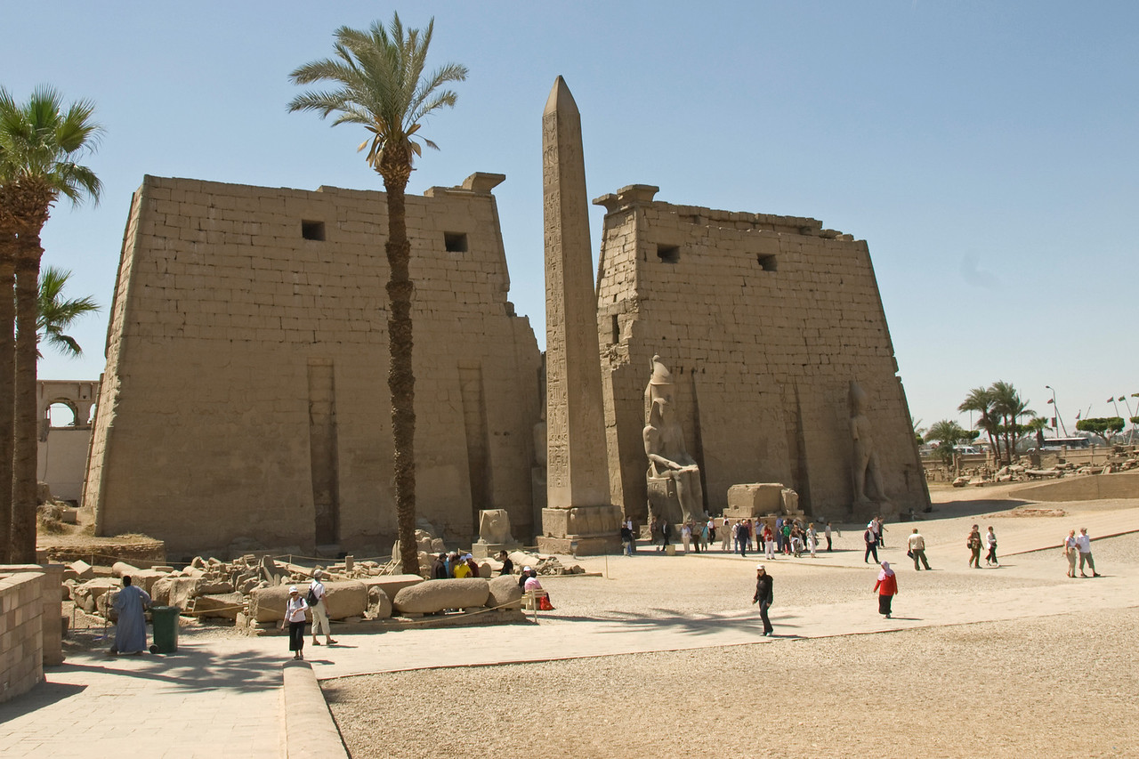 Wide shot outside Luxor Temple Complex - Luxor, Egypt