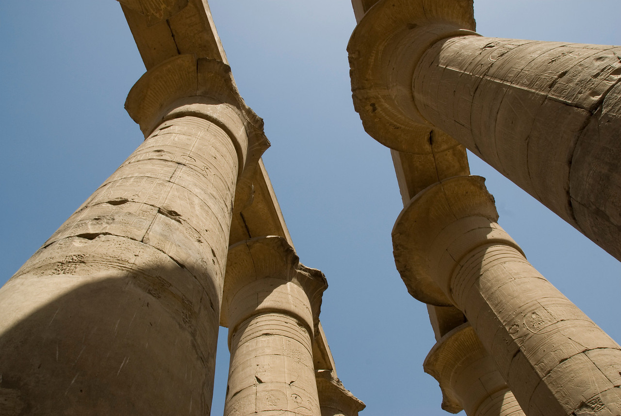 Looking up the pillars of Luxor Temple - Luxor, Egypt