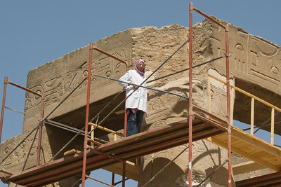 Restoration worker spotted at Luxor Temple - Luxor, Egypt
