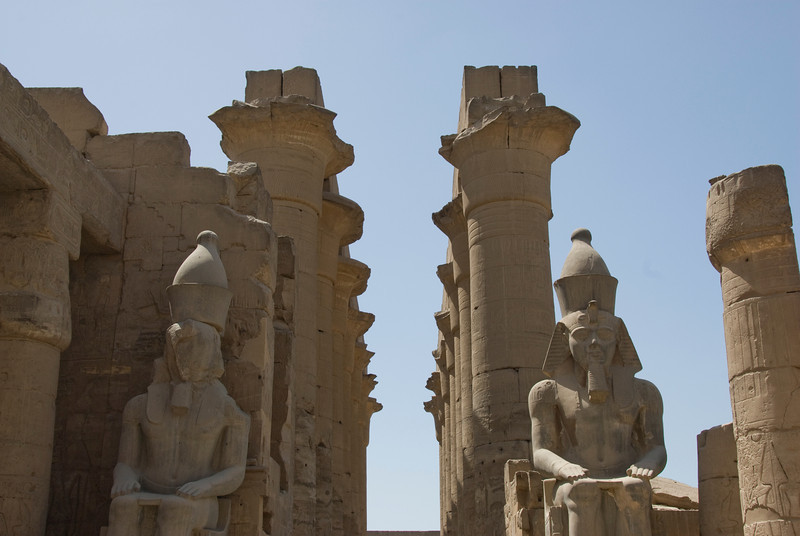 Row of pillars at the Luxor Temple - Luxor, Egypt