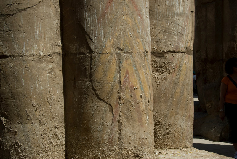 Pillars with original paint spotted in Luxor Temple - Luxor, Egypt