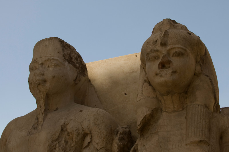 Close-up of statues inside Luxor Temple - Luxor, Egypt