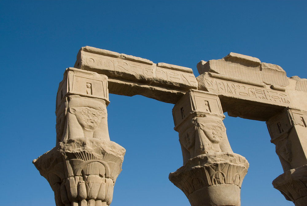 Pillars of the Philae Temple in Aswan